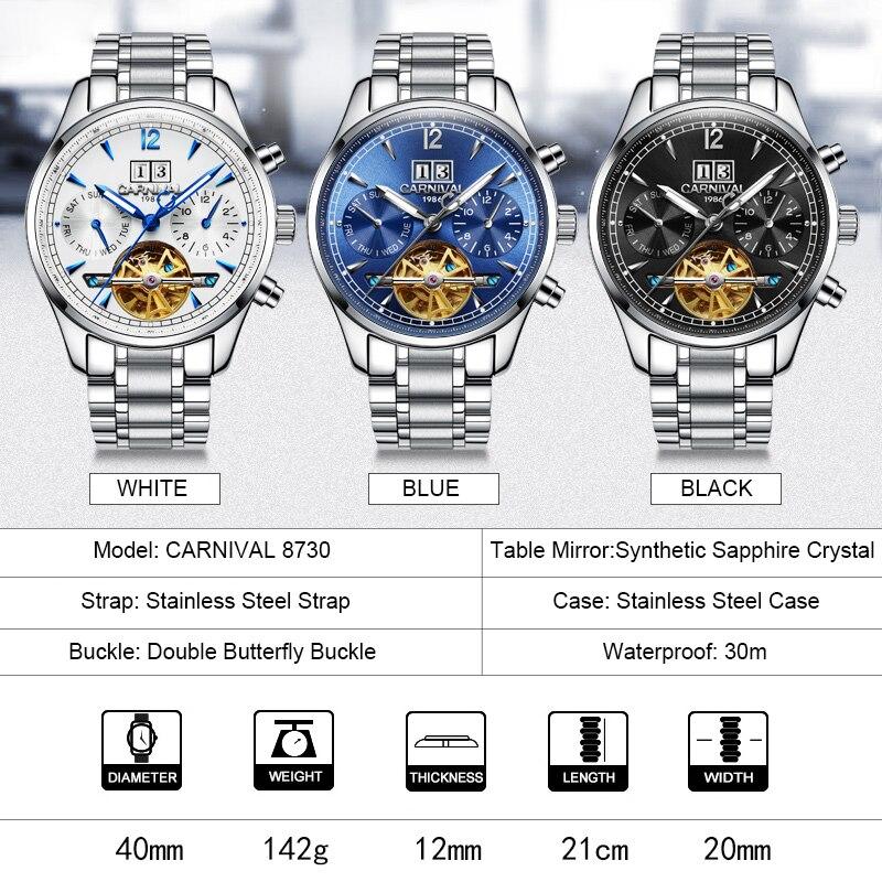 TopBrand CARNIVAL luxe heren skeleton business casual horloge - Herenhorloges - Foto 6
