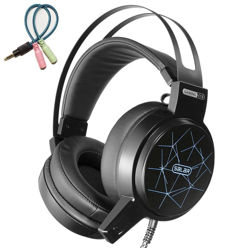 Ihens5 Salar C13 Stereo Gaming Headset Deep Bass Game Headphone casque Gamer auriculares con micrófono luz LED para ordenador PC