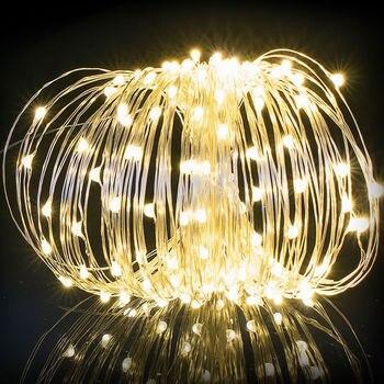 Cadena de alambre de cobre led de estrellas de lámparas alambre de cobre lámpara solar Cadena de luces de Navidad impermeables