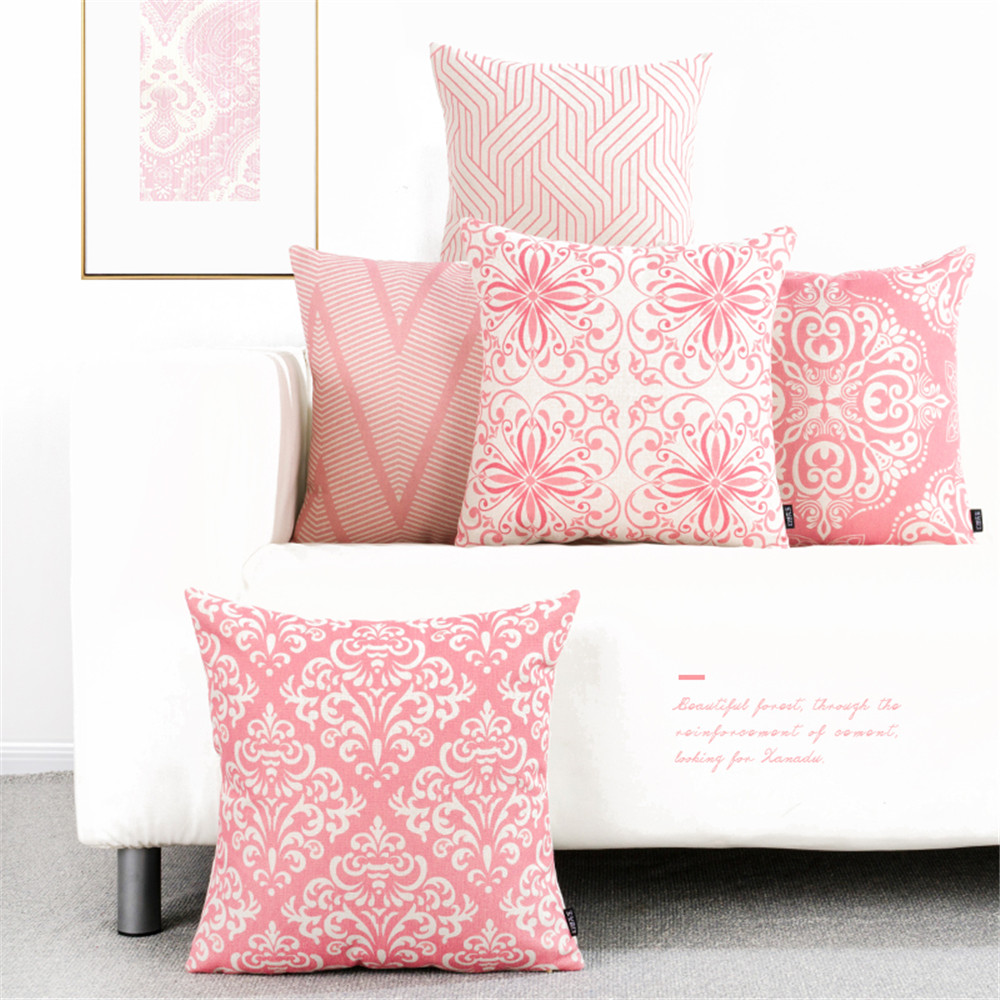 Super Us 2 91 41 Off Decorative Throw Pillow Pink Pattern Geometric Cushion Cover Lumbar Pillow Cushion Case Cover Office Chair Sofa Girls Bedroom In Ncnpc Chair Design For Home Ncnpcorg