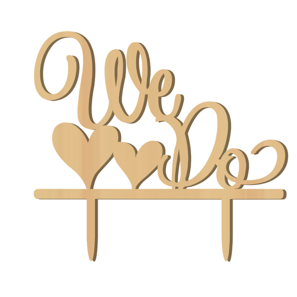 Romantic Double Heart Shaped WE DO Wooden Wedding Cake Topper ...