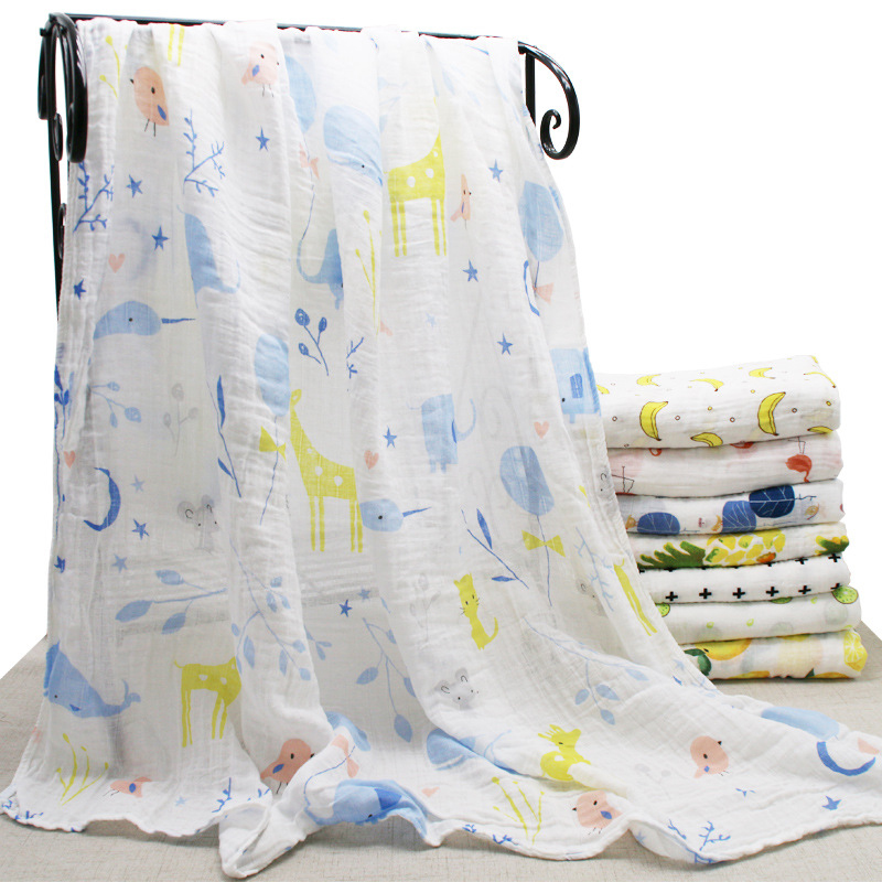 2018 Explosion Models Cotton Light Breathable Double Gauze Bag Baby Bath Towel Gauze Bag Towel INS Cotton Hug Blanket Swaddling