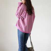 Fashion Women Casual Loose Knitted Pullover Sweater Striped Jumper Knitwear Outwear Top