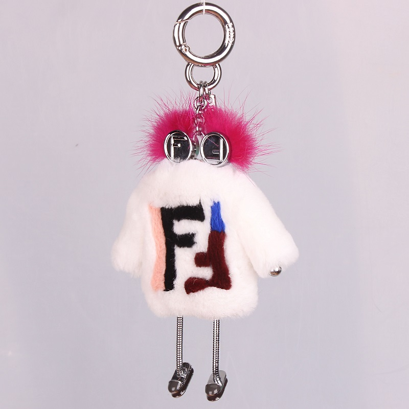 Brand New Real Fur Smart Key Wallet Key Monster Bag Charm Cute Silver Robot Luxury Pendant Genuine Pompom Rabbit Fur