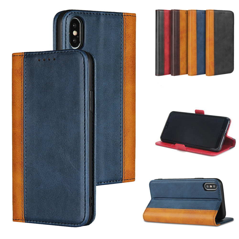 LUCKBUY For iPhone X XR XS Max Color Matching Calf Grain Leather Flip Case for 7 8 6 6S Plus luxury Magnetic Wallet Cover