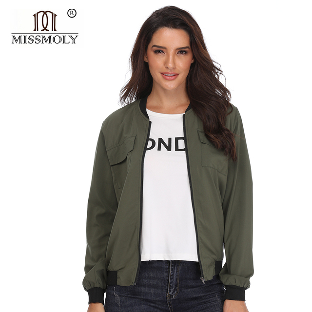 785ed2016 US $14.99 |Womens Long Sleeve bomber jacket Ladies' Pocket Zipper Front  Stand Collar Polyester Basic Coat Outwear Autumn And Winter-in Basic  Jackets ...
