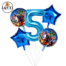 5pcs/lot Superhero Hulk The Avengers Foil Balloons 30inch Blue Number Inflatable Ball Birthday Party Decor Kids Toys Star Globos
