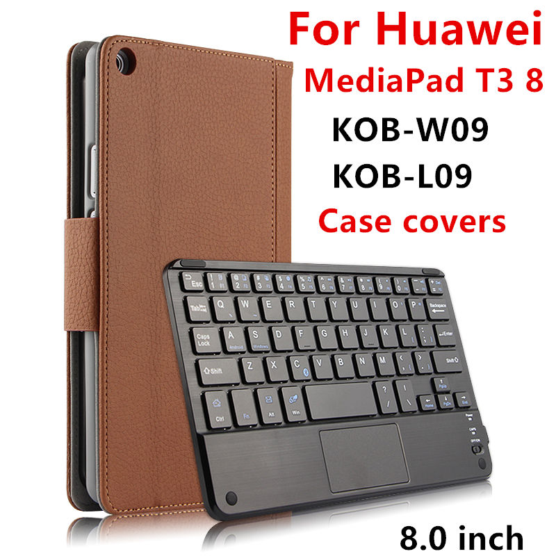 Case For Huawei MediaPad T3 8.0 Protective Wireless Bluetooth keyboard Smart cover Leather Tablet KOB W09 L09 Cases PU Protector