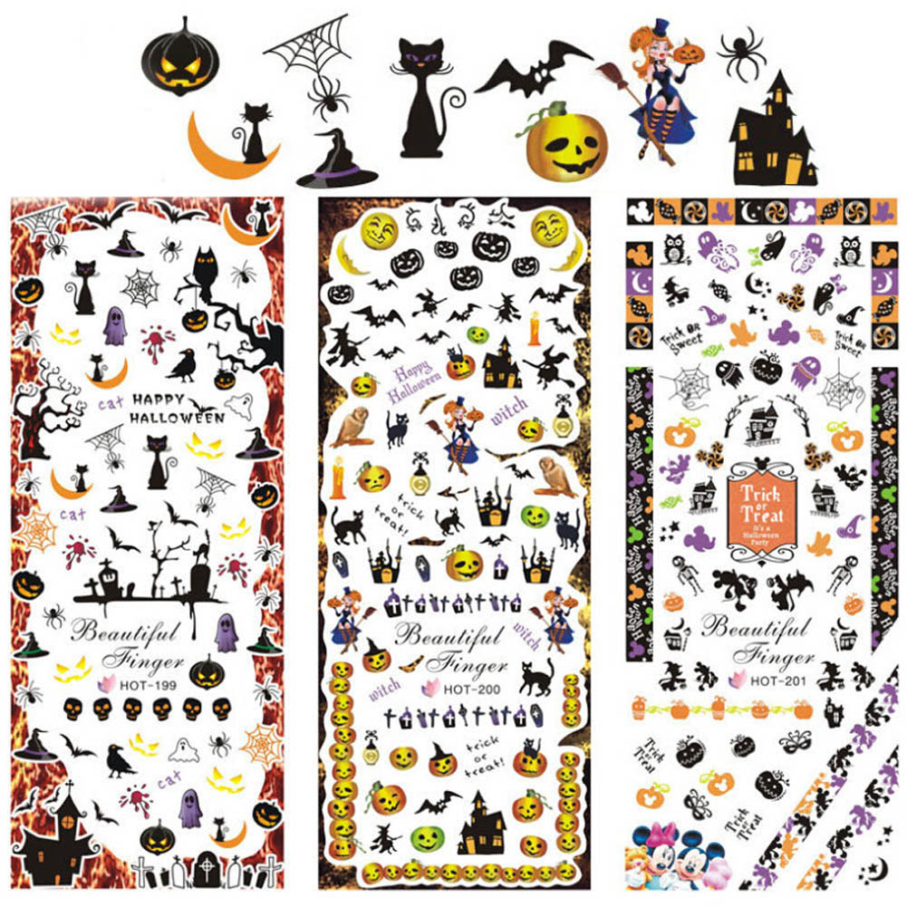 Hot Sale 3 Sheets Halloween Water Transfer Decal Stickers Nail Art Tips AllHallow'sDay Decoration Ghost Bat Skull Witch Death kads new 36pcs set 3d nail art transfer stickers happy halloween design cool skull image nail art decoration tools