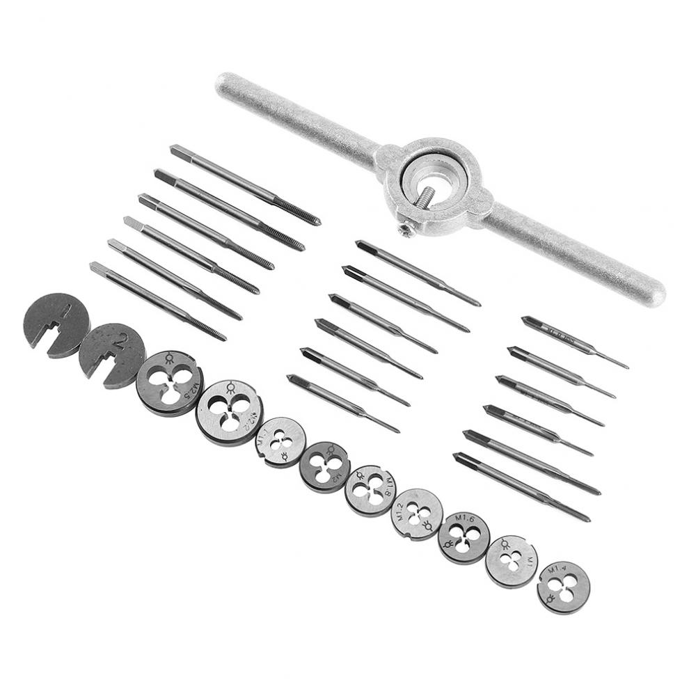 30pcs/set precise Metric NC Screw Tap & Die External Thread Cutting Tapping Hand Tool Kit with 6542 HSS Screw Plugs Taps hand twisted wire tapping wrench dies metric wire tapping hand tap die combination tool kit hardware its