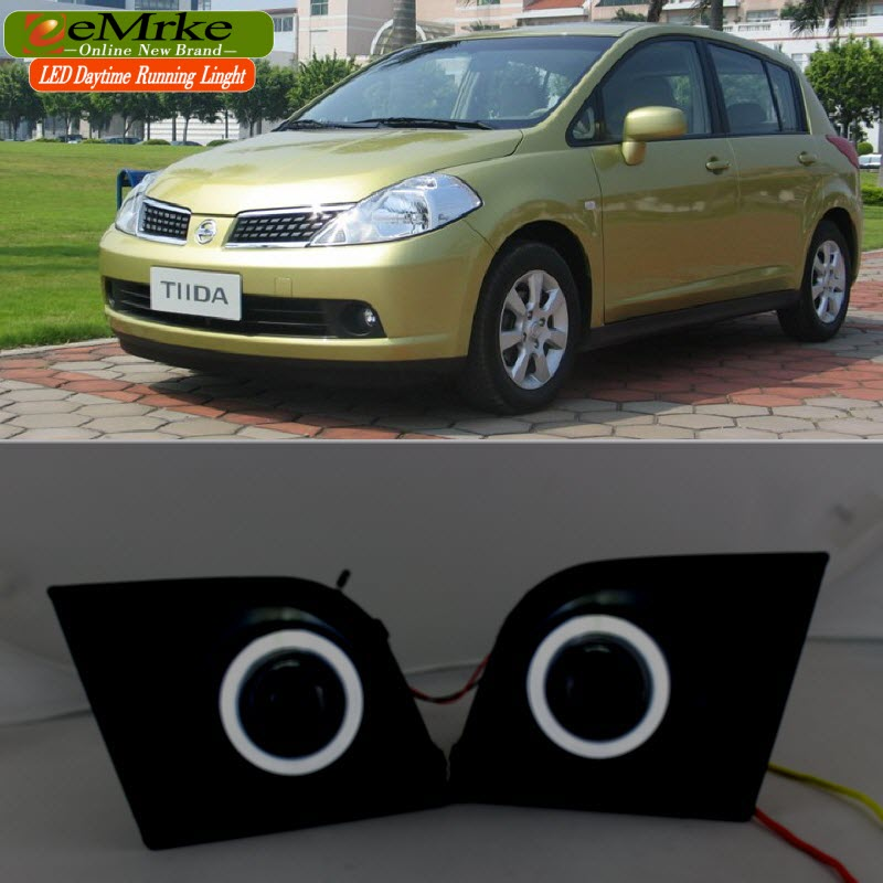 eeMrke For Nissan Tiida C11 2004-2012 LED Angel Eye DRL Daytime Running Lights Halogen Bulbs H11 55W Fog Lights eemrke led daytime running lights for mitsubishi grandis cob angel eye drl halogen h11 55w fog light