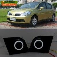 eeMrke For Nissan Tiida C11 2004 2012 LED Angel Eye DRL Daytime Running Lights Halogen Bulbs H11 55W Fog Lights