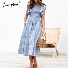 Simplee Vintage striped women long dress Ruffle linen blue elegant summer dress 2019 Casual cotton fashion female beach vestidos(China)