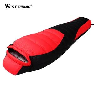 Image 3 - WEST BIKING Ultralight Mummy Sleeping Bag Winter Autumn Lengthened Thicken Camping Splicing White Duck Down Single Sleeping Bag