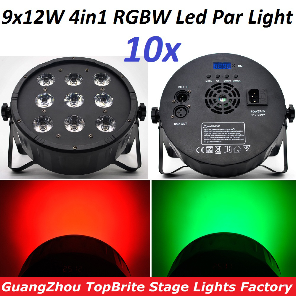10xLot CREE LED Par 9x12W RGBW 4IN1 LED Luxury DMX 4/8 Channels Led Flat Par Can Professional DMX Disco DJ Stage Effect Lights 2xlot 2016 led par can 7x10w rgbw 4in1 quad color mini par led dmx dj disco stage lights 70w moving head strobe effect projector