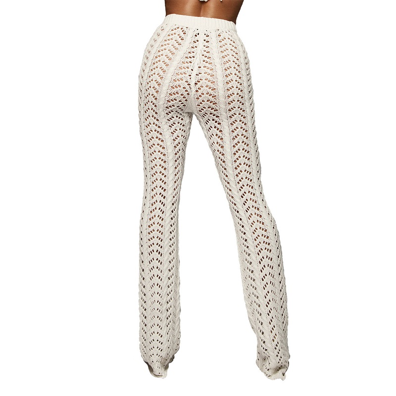 2e363cb9298b IASKY New crochet hollow out beach long pants trousers 2018 see through bikini  swimsuit cover ups bathing suit cover up -in Cover-Ups from Sports ...