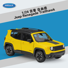 WELLY 1:24 High Simulator Metal Jeep Renegade SUV Alloy Kenderaan Kereta Diecast Model Jeep Renegade Toy Car For Boys Koleksi Hadiah