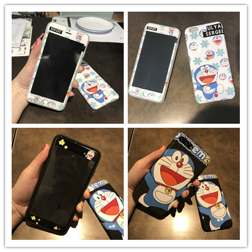 10sets/lot Shine Doraemon Front Soft-edge Tempered Glass W/ Glossy Soft Cover Case For iPhone 8/6s 7plus Skinny Body Protection