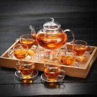 Melhor escolha conjunto de chá de vidro  conjuntos inteiros do bule  fonte da chaleira do bule do presente dos utensílios de casa  jogo de chá de vidro 600-800ml