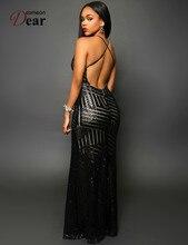 Comeondear Striped Sequins Nude Long Dress VK1033 Sexy V-Neck Women Floor Length Long Dress Slit Front Sequins Backless Dress