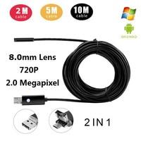 10M 720P 2MP 6LED 8MM Mini USB Android Inspection Endoscope Camera Underwater Endoscopio Tube Micro Camera