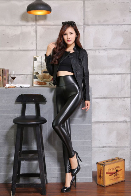 Women Black Leather Leggings
