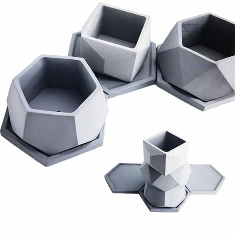 Molde de Cimento Moldes para Casa Panela de Barro Grande Handamde Forma Silicone Jardinagem Plantas Suculentas Vaso Diamante Mould