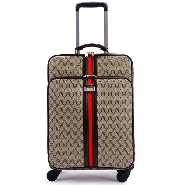 Men and Women Travel Suitcase PU Leather Vintage Luggage Universal Wheels Trolley Luggage Bag Classic Business Rolling Luggage
