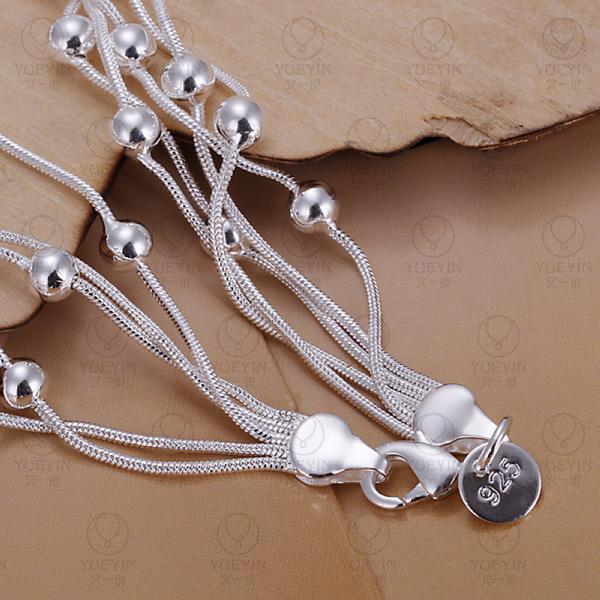 Charm Bracelets Link Chain silver plated bracelet for women men unisex jewelry hand chain H234 Bridal Jewelry pulseras 8