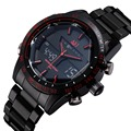 ASJ Men Dual Movt Quartz Watch Analog Digital LED Wristwatch Calendar Stainless Steel Strap Watches
