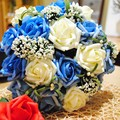 Cheap 4 Color Rose Wedding Bouquets Beautiful Rose Wedding Bouquets Bridal Bridesmaid Flower Artificial Simulate Rose Bouquet