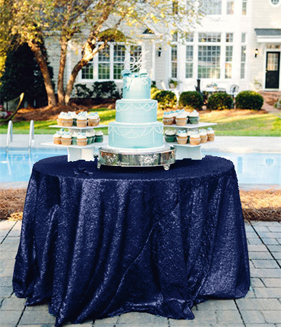 ShinyBeauty 60 inch Sequin Tablecloth Round Navy Blue for ...