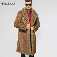 FHILLINUO Mens Faux Fur Coats Long Trench Coat Fur Collar Leather Suede Jacket Men Overcoats Warm Winter Luxury Male Jackets