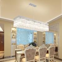 Modern simple LED warm romantic long strip rectangular restaurant lights dining room meal hanging crystal lamp hanging fixture