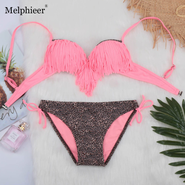 41d8bf39ad Bikini 2019 Summer Sexy Monokini Fringe Swimsuit Lady Tassel Bathing Suit  Swimwear Women Push Up Bikinis Set Swim Wear Swim Suit