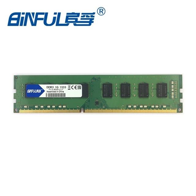 Binful original Novo PC3-10600 DDR3 1 GB 1066 MHz 1333 MHz PC3-8500 para Desktop Memória RAM compatível com computador De Mesa