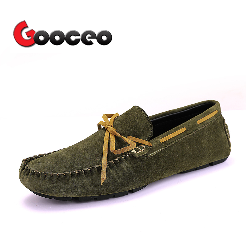 Men's Loafers Moccasins Flats Driving Doug Shoes Boat Low top Slip On Men Spring Suede Leather Casual Nubuck Handmade Leisure