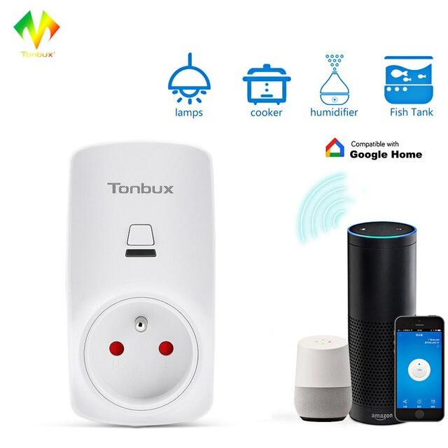Tonbux AU/FR/EU enchufe inteligente Wifi enchufe Pantalla de luz LED Max250V Google Home aceptar Alexa Control inteligente hembra envío de la gota