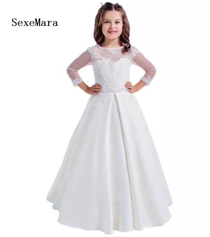 New White Lace Long Sleeves Girls First Communion Dresses Hollow Back Flower Girl Dress for Wedding Size 2-14 Year Old trendy long sleeves lace splice hollow out women s dress