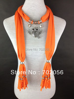 Scarf Jewelry Owl Pendant Necklace Fashion Womens Soft Scarves Jewellery Mix Color 20pcs Lot 2892