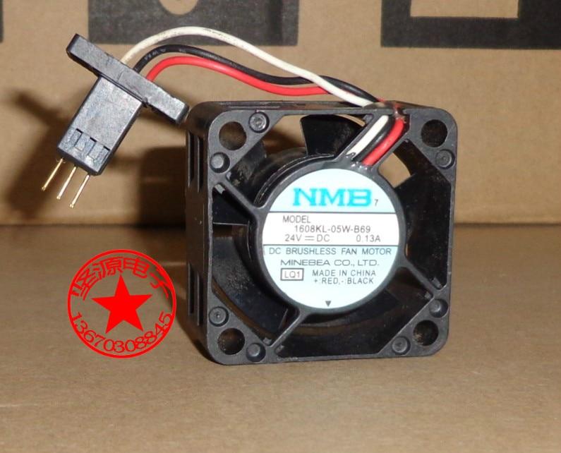 NMB-MAT 1608KL-05W-B69 LQ1 Server Square Fan  DC 24V 0.11A 40x40x20mm 3-wire nmb 3610kl 05w b49 9225 24v 3 wire cooling fan blower