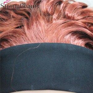 Image 5 - StrongBeauty Kurze Lockige Synthetische Perücken mit Stirnband Frauen Blau/Grau/Schwarz/Rot/Blonde/Braun Perücken 3/4 halbe Perücke für Dame
