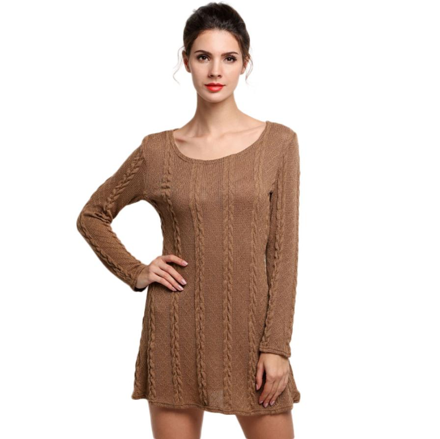 Summer New Fashion Women Ladies Long Sleeve Crewneck Jumper Slim Casual Knitted Sweater Mini Dress femme vestidos F80 body solid pla200x