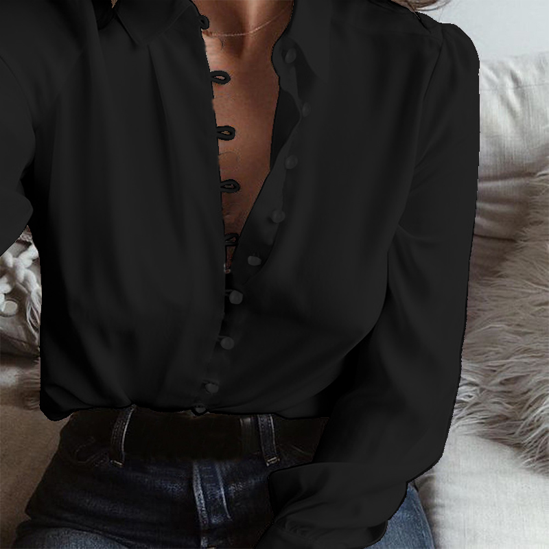 2019 Fashion ZANZEA Autumn Casual Long Sleeve Loose Party Blouse Women Elegant Solid Lapel Baggy Work Office Button Down Shirts in Blouses amp Shirts from Women 39 s Clothing