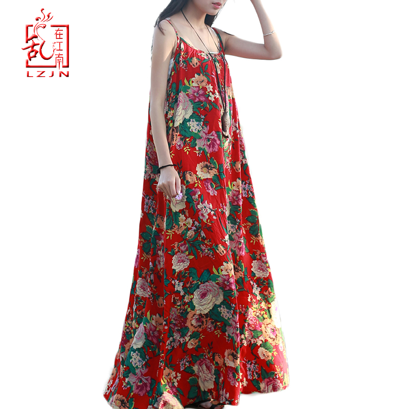 LZJN Original Maxi Slip Dress 2019 Summer Sarafan Cotton Linen Sundress Elegant Robe Femme Long Tunic