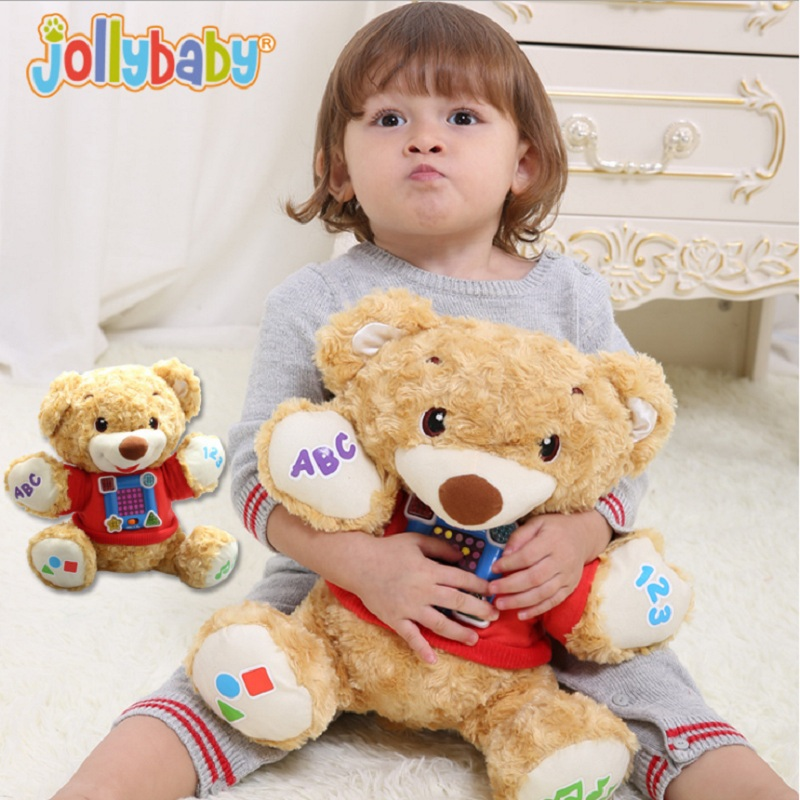 Sozzy Baby 32cm Teddy Bear Plush Toys Doll Stuffed Toy Newborn Early Education Music Explore Plush Toy Top Quality stuffed animal 44 cm plush standing cow toy simulation dairy cattle doll great gift w501