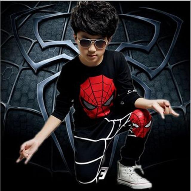 2016 детская одежда Spiderman мальчиков одежда комплект длинным рукавом о-образным вырезом спортивные костюмы устанавливает весна детская одежда 4 - 8 т 2 шт.