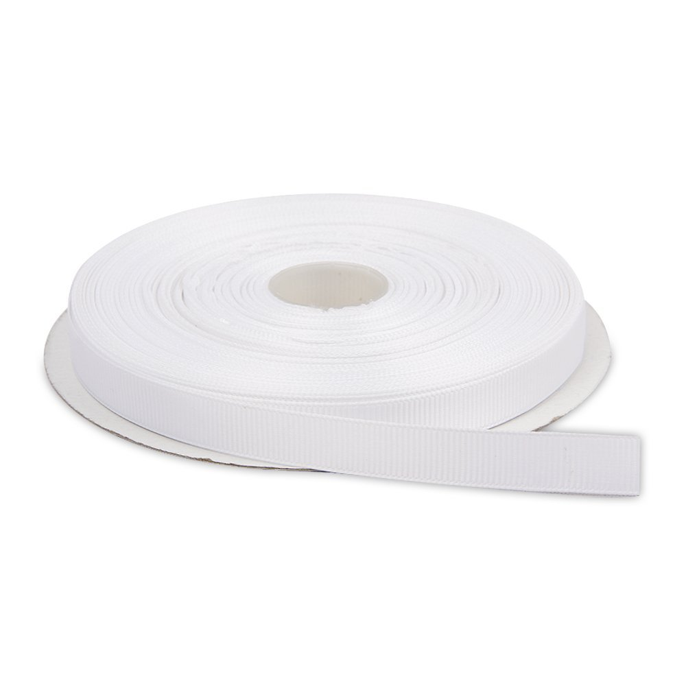 ZERZEEMOOY 8MM 10MM 15MM 20MM 25MM 30MM White Double Face Solid Grosgrain Ribbon 100yard-Roll