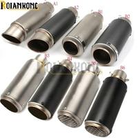 laser mark motorcycle modified muffler carbon fiber exhaust pipe For Honda CB650F CBR600F CBR600RR CBR900RR CBR929RR GROM