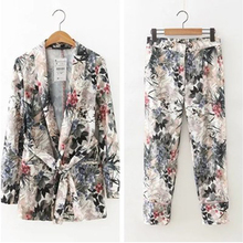 2 piece set women Suit female 2019 autumn Europe and the United States wind new belt printing coat + casual pants suit